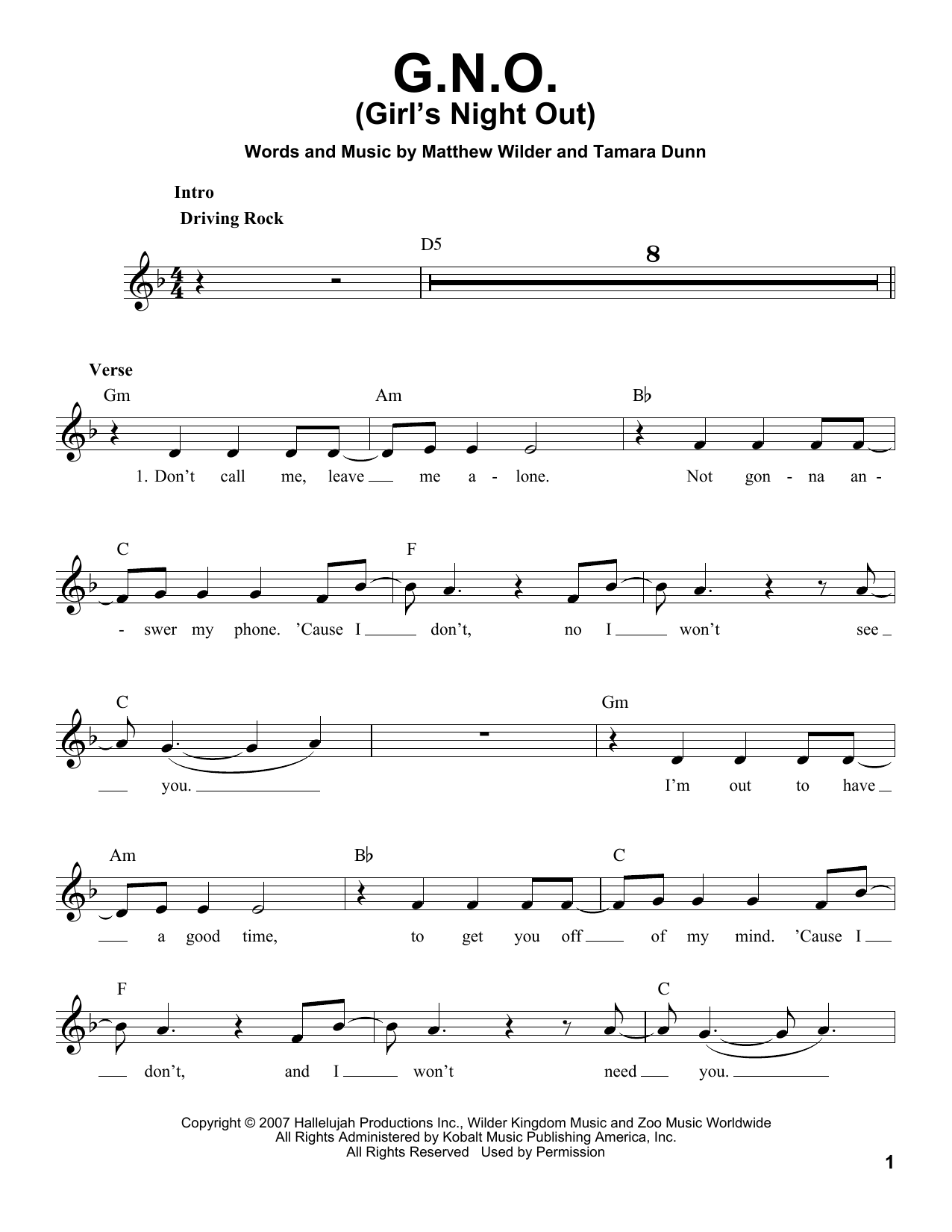 Hannah Montana G.N.O. (Girl's Night Out) sheet music notes and chords. Download Printable PDF.