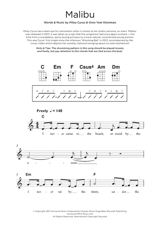 Miley Cyrus Malibu sheet music notes and chords