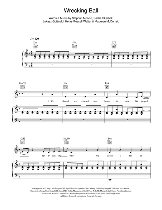 Miley Cyrus Wrecking Ball sheet music notes and chords. Download Printable PDF.