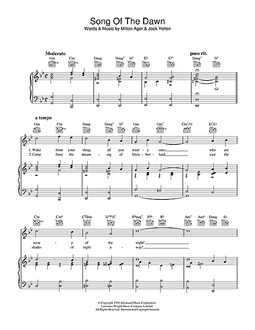 Milton Ager Song Of The Dawn sheet music notes and chords. Download Printable PDF.