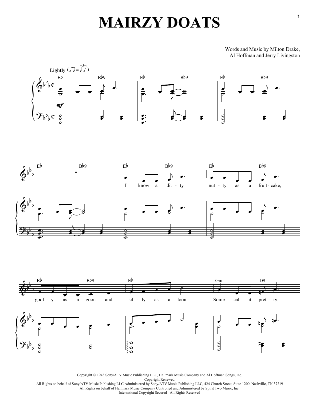 Milton Drake Mairzy Doats sheet music notes and chords. Download Printable PDF.