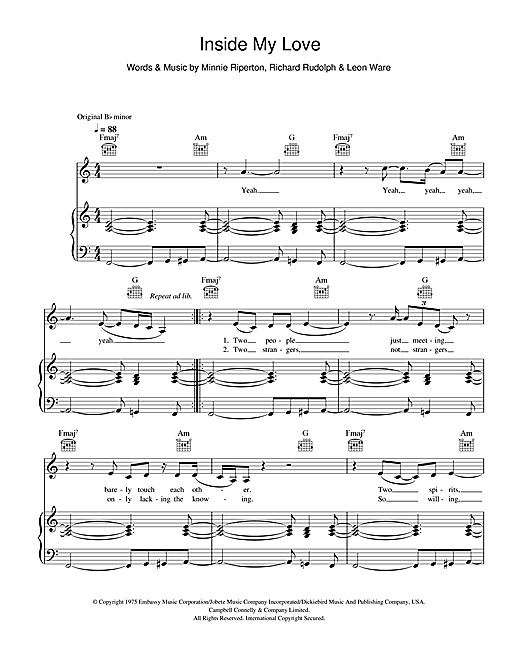 Minnie Riperton Inside My Love sheet music notes and chords. Download Printable PDF.
