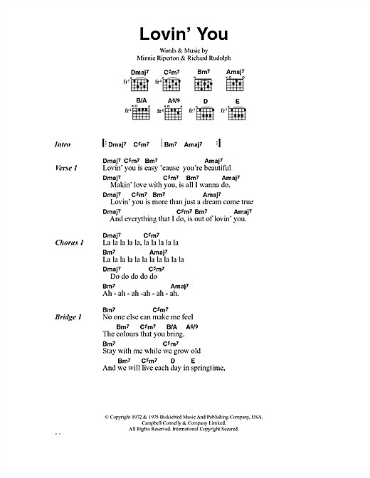 Minnie Riperton Lovin' You sheet music notes and chords