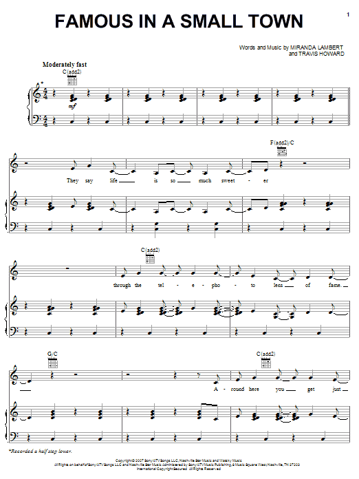 Miranda Lambert Famous In A Small Town sheet music notes and chords. Download Printable PDF.