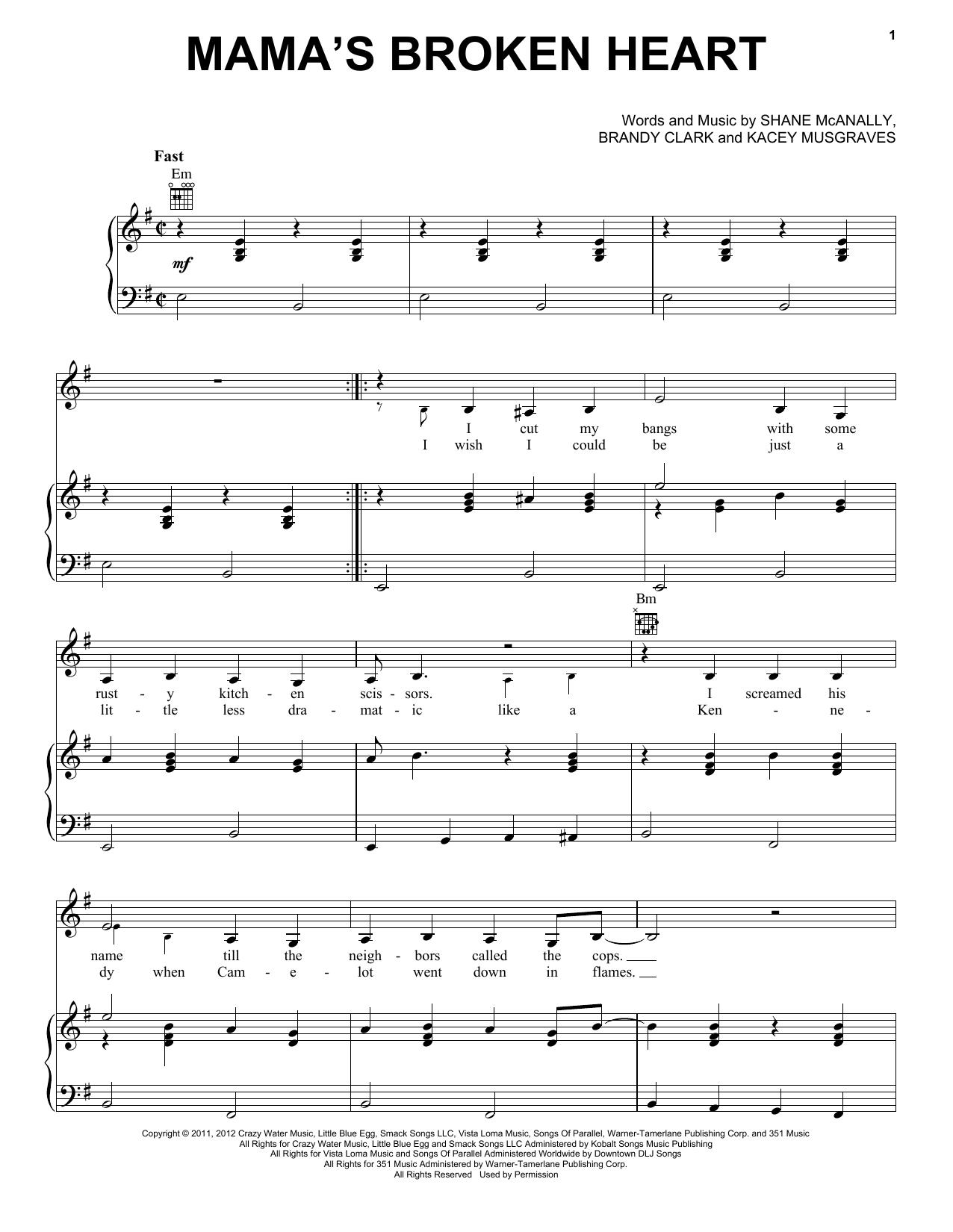 Miranda Lambert Mama's Broken Heart sheet music notes and chords. Download Printable PDF.
