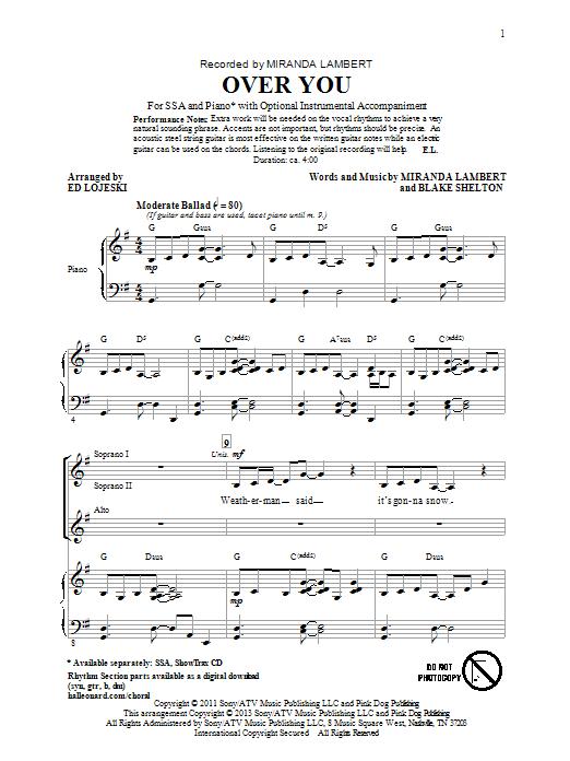 Miranda Lambert Over You (arr. Ed Lojeski) sheet music notes and chords. Download Printable PDF.