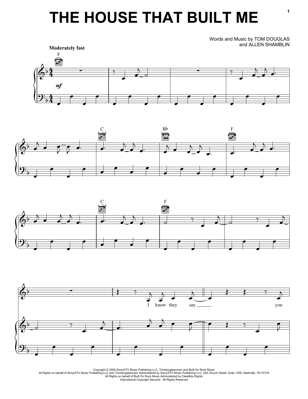Miranda Lambert 'The House That Built Me' Sheet Music Notes, Chords |  Download Printable Guitar Tab - SKU: 77627