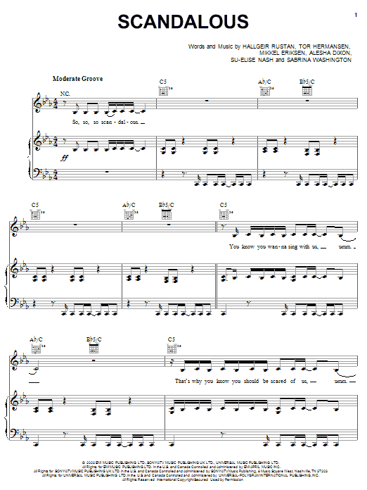 Mis-Teeq Scandalous sheet music notes and chords. Download Printable PDF.