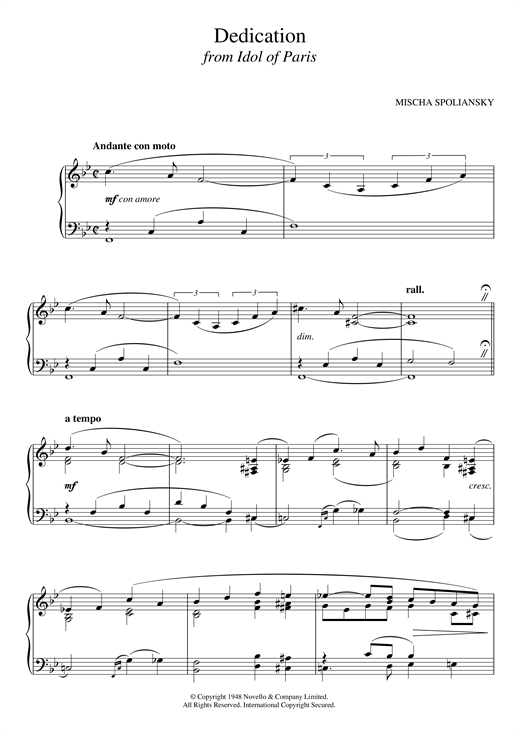 Mischa Spoliansky Dedication (from Idol Of Paris) sheet music notes and chords. Download Printable PDF.