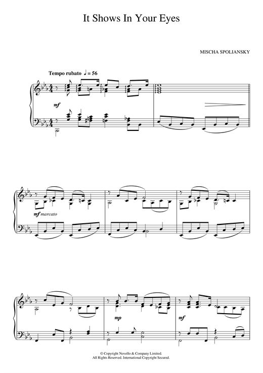 Mischa Spoliansky It Shows In Your Eyes sheet music notes and chords
