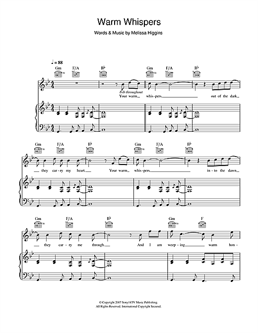 Missy Higgins Warm Whispers sheet music notes and chords. Download Printable PDF.