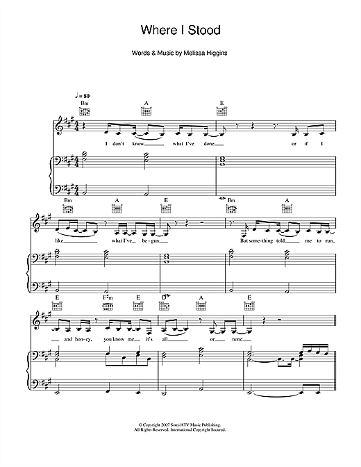 Missy Higgins Where I Stood sheet music notes and chords. Download Printable PDF.
