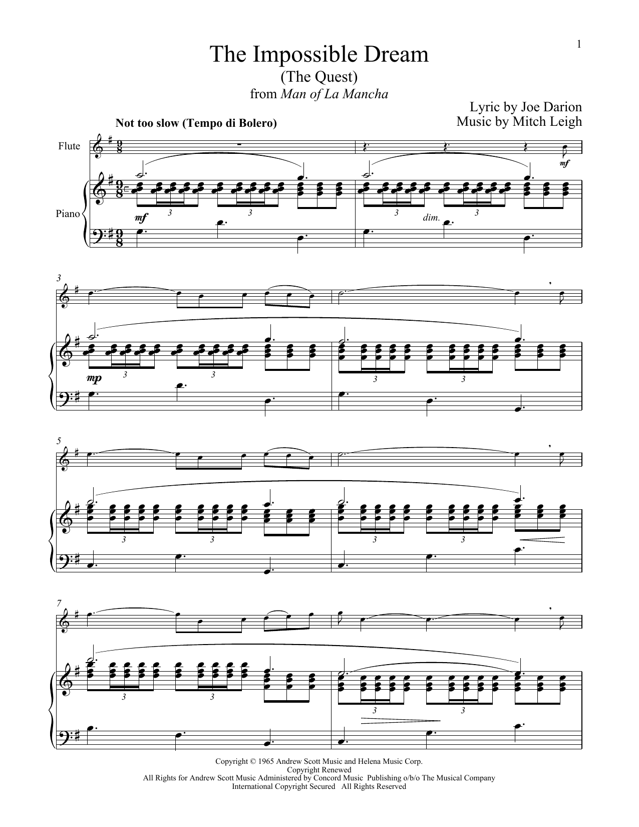 Mitch Leigh The Impossible Dream (The Quest) (from Man Of La Mancha) sheet music notes and chords
