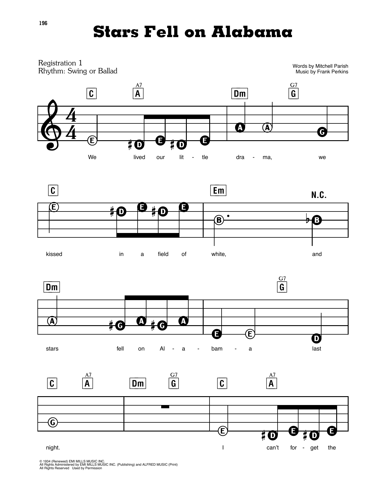 Mitchell Parish and Frank Perkins Stars Fell On Alabama sheet music notes and chords. Download Printable PDF.