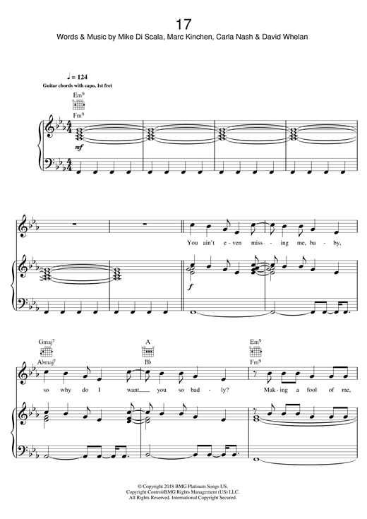 MK 17 sheet music notes and chords. Download Printable PDF.