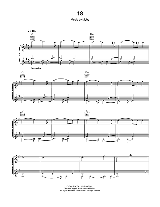 Moby 18 sheet music notes and chords