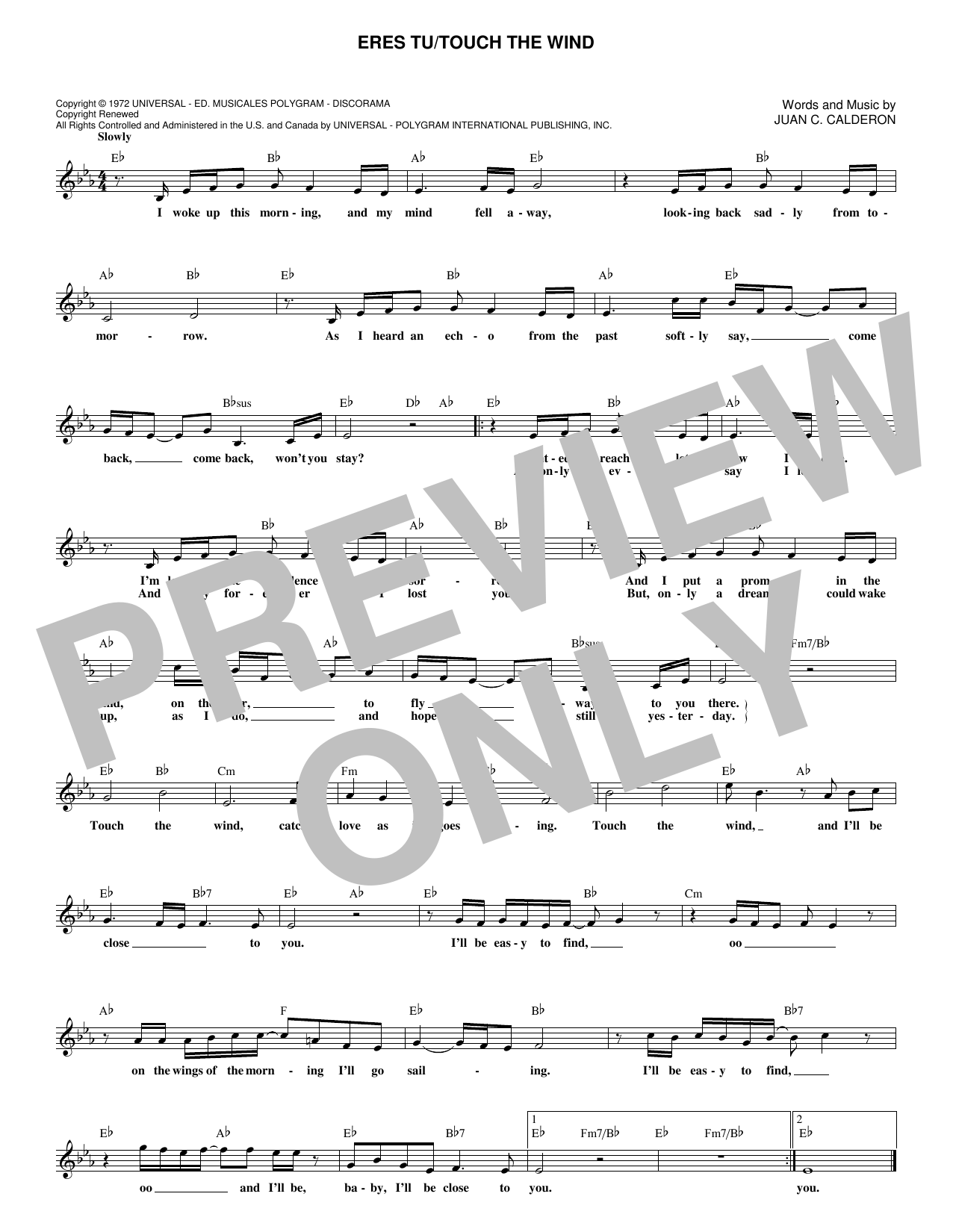 Mocedades Eres Tu/Touch The Wind sheet music notes and chords. Download Printable PDF.