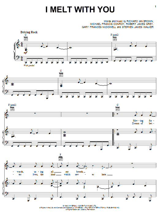 Modern English I Melt With You sheet music notes and chords. Download Printable PDF.