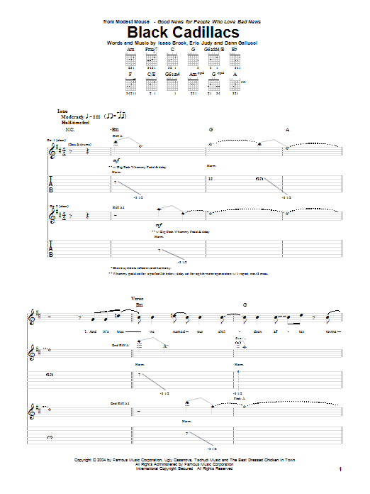 Modest Mouse Black Cadillacs sheet music notes and chords