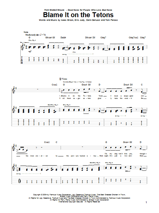 Modest Mouse Blame It On The Tetons sheet music notes and chords. Download Printable PDF.