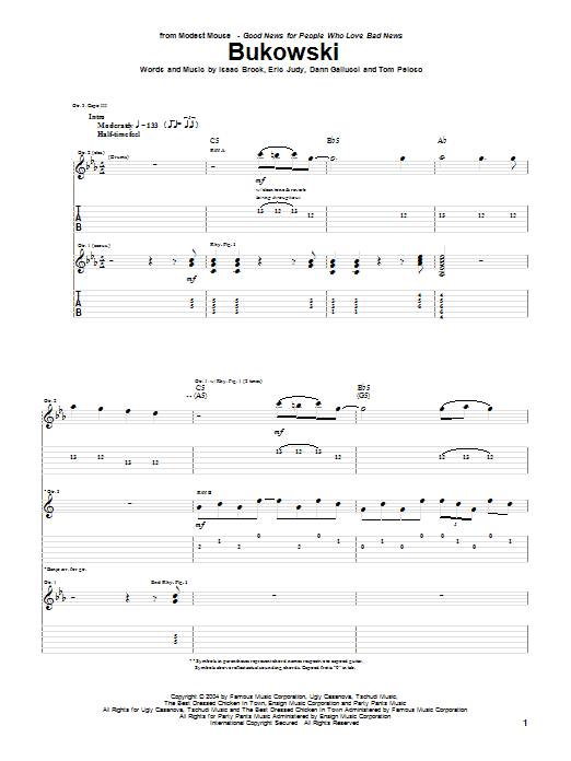 Modest Mouse Bukowski sheet music notes and chords