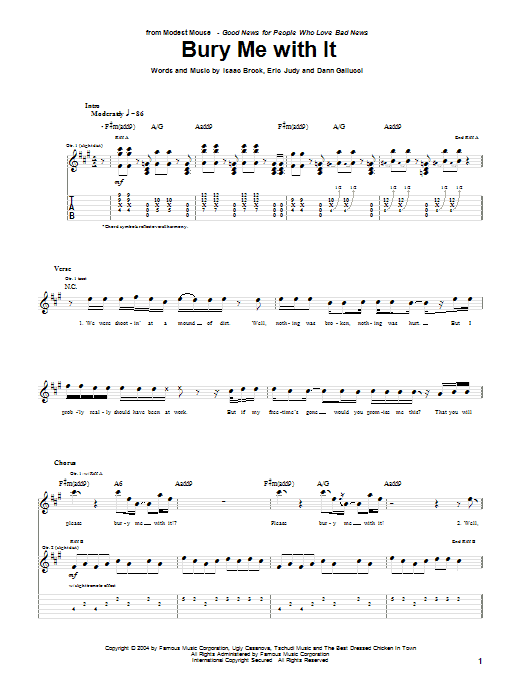Modest Mouse Bury Me With It sheet music notes and chords