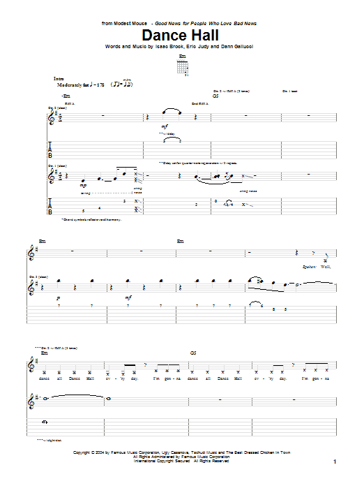 Modest Mouse Dance Hall sheet music notes and chords. Download Printable PDF.