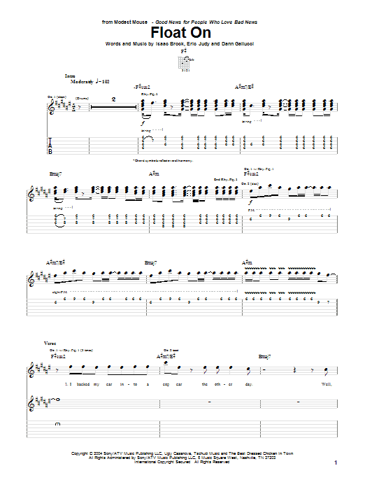 Modest Mouse Float On sheet music notes and chords