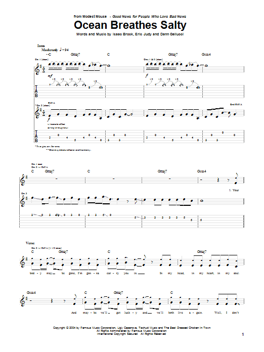 Modest Mouse Ocean Breathes Salty sheet music notes and chords. Download Printable PDF.