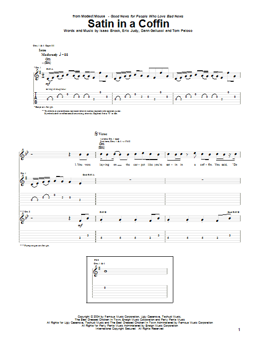 Modest Mouse Satin In A Coffin sheet music notes and chords. Download Printable PDF.