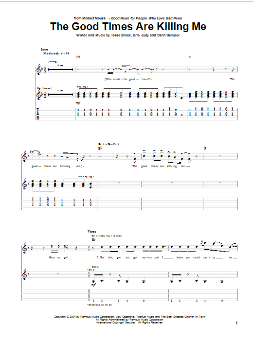 Modest Mouse The Good Times Are Killing Me sheet music notes and chords. Download Printable PDF.