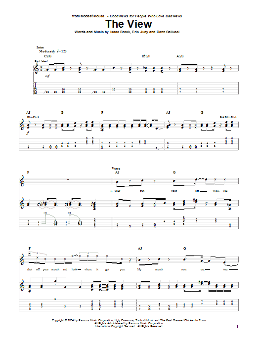 Modest Mouse The View sheet music notes and chords