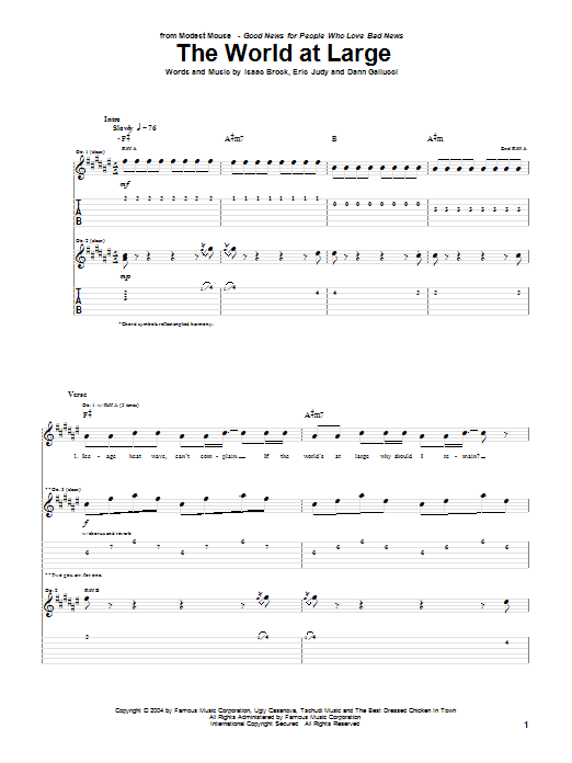Modest Mouse The World At Large sheet music notes and chords