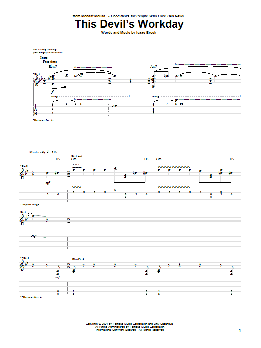 Modest Mouse This Devil's Workday sheet music notes and chords