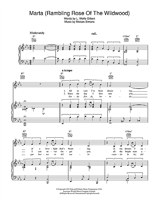 Moises Simons Marta (Rambling Rose Of The Wildwood) sheet music notes and chords. Download Printable PDF.