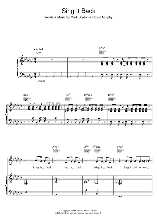 Moloko Sing It Back sheet music notes and chords. Download Printable PDF.