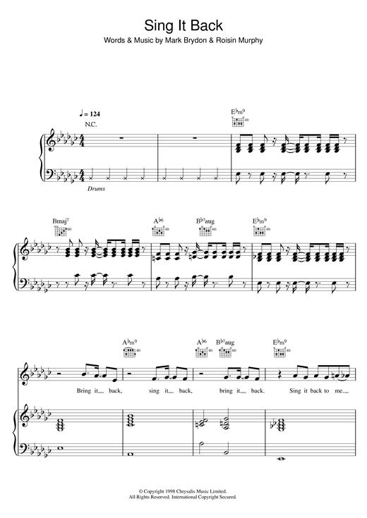 Moloko Sing It Back sheet music notes and chords