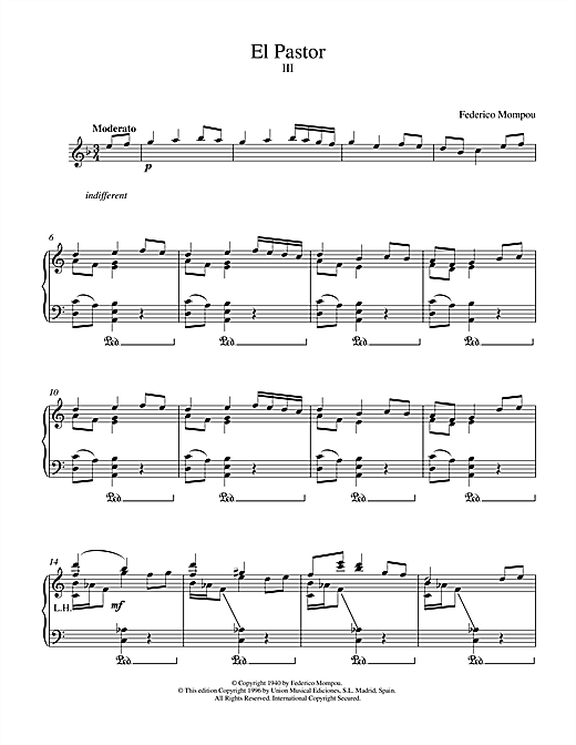 Mompou El Pastor III sheet music notes and chords