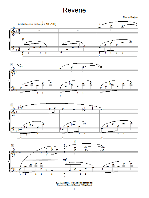 Mona Rejino Reverie sheet music notes and chords. Download Printable PDF.