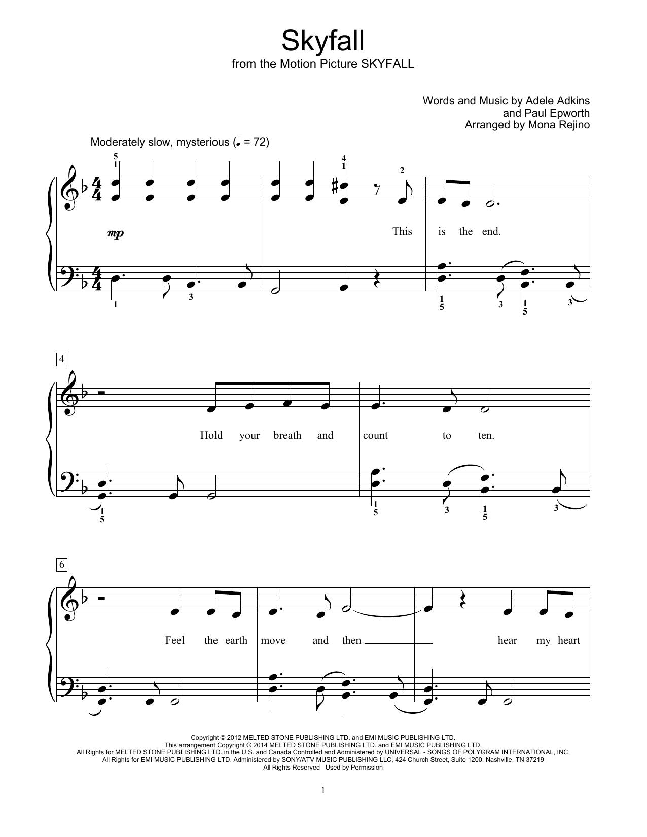 Mona Rejino Skyfall Sheet Music Notes, Chords   Download Printable  Educational Piano PDF Score   SKU 15