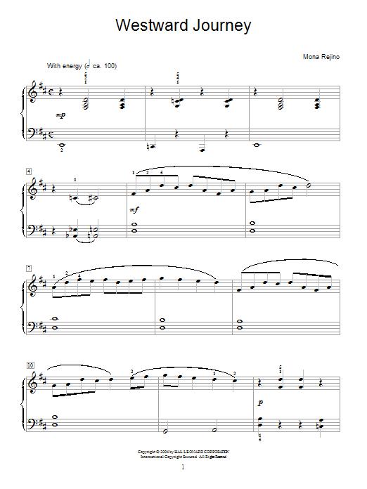 Mona Rejino Westward Journey sheet music notes and chords. Download Printable PDF.