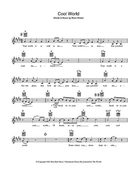 Mondo Rock Cool World sheet music notes and chords. Download Printable PDF.