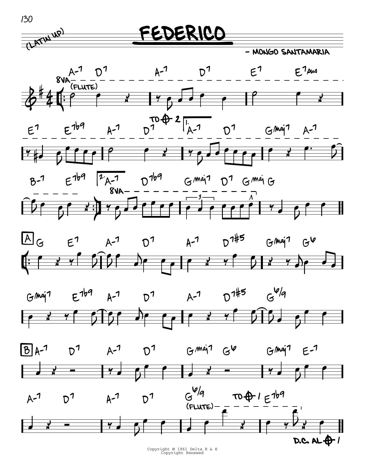 Mongo Santamaria Federico sheet music notes and chords. Download Printable PDF.