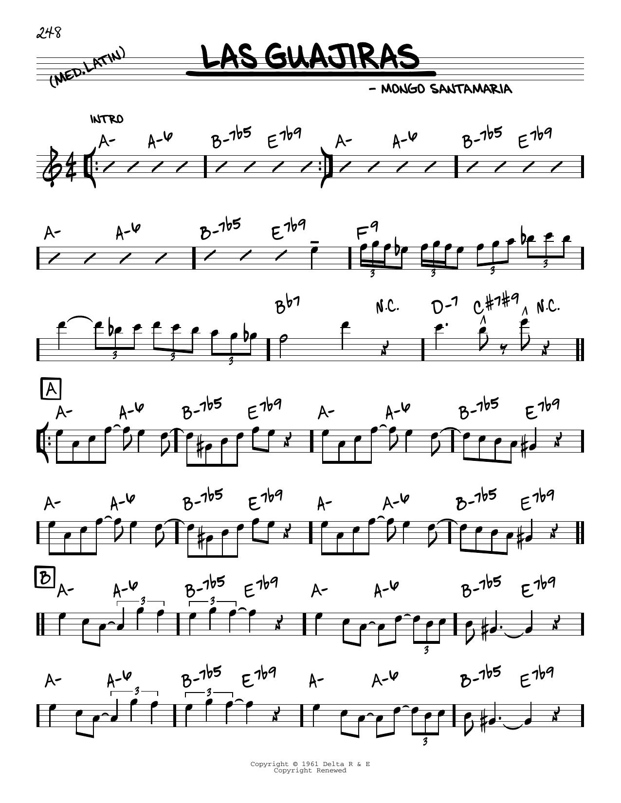 Mongo Santamaria Las Guajiras sheet music notes and chords. Download Printable PDF.