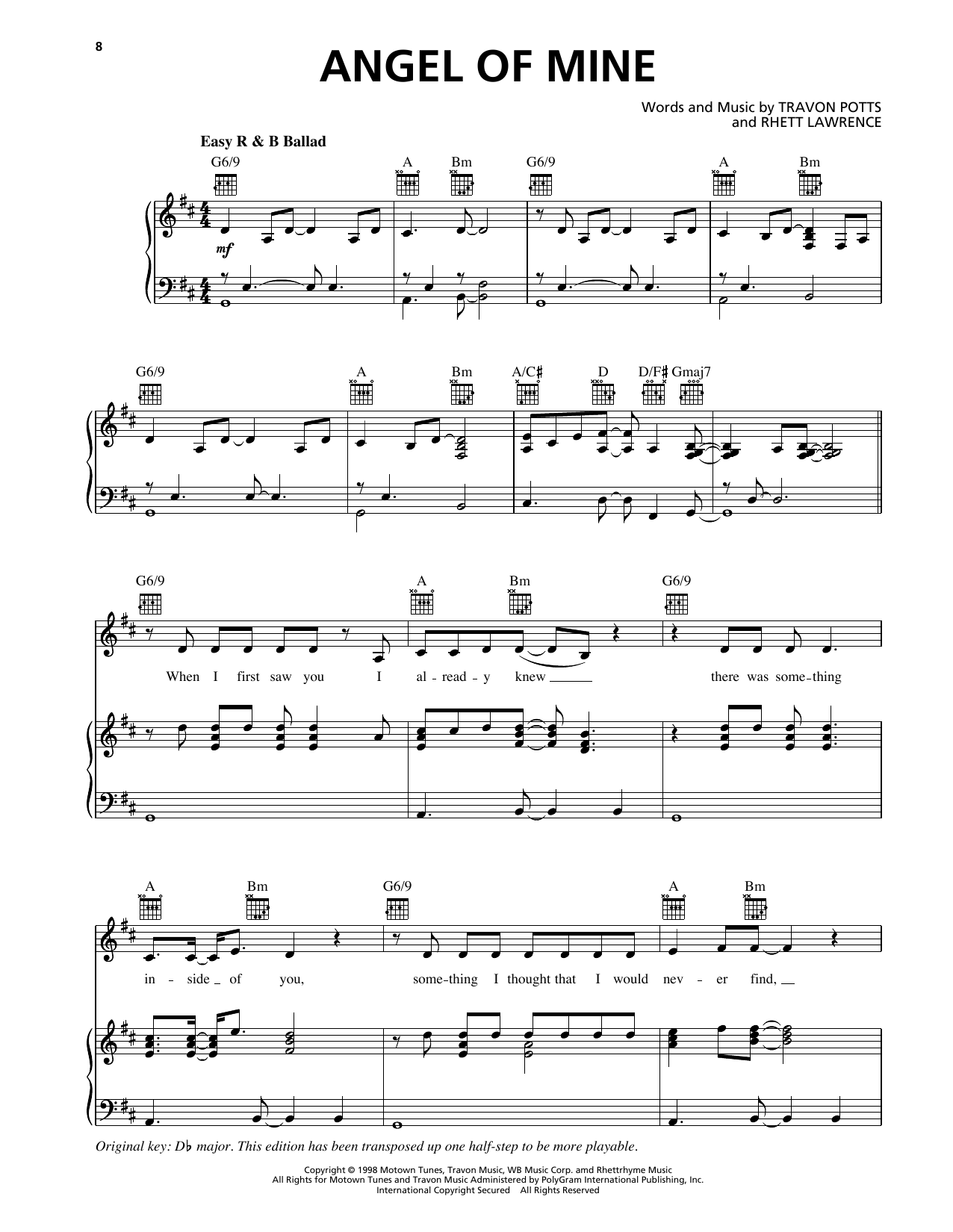 Monica Angel Of Mine sheet music notes and chords. Download Printable PDF.