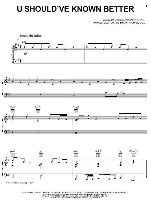 Monica U Should've Known Better sheet music notes and chords. Download Printable PDF.