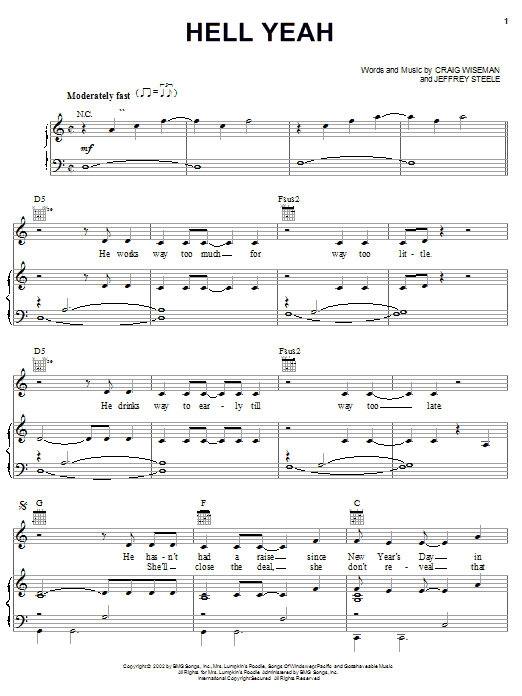 Montgomery Gentry Hell Yeah sheet music notes and chords. Download Printable PDF.