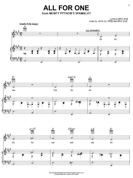 Monty Python's Spamalot All For One sheet music notes and chords. Download Printable PDF.
