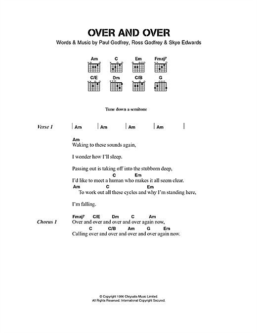 Morcheeba Over And Over sheet music notes and chords