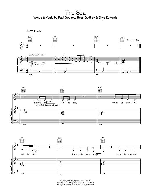 Morcheeba The Sea sheet music notes and chords